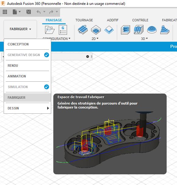 Interface de fusion 360, logiciel utilisé pour apprendre la FAO